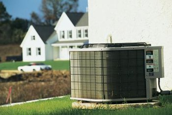 A cover protects an air conditioning unit during winter months.