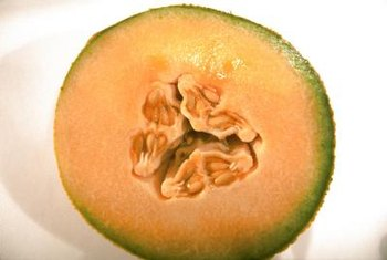 Cantaloupe seeds form in the center of the fruit.