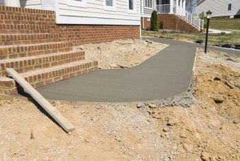 Stamped concrete is often used for outdoor paths and walkways.