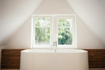 The window treatments best suited for a bathroom are blinds, curtains and shutters.
