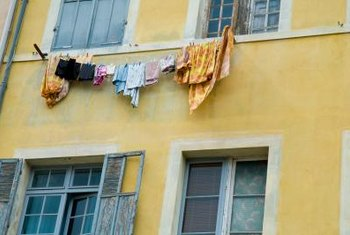 Get creative when looking for ways to hang clothing on a line to dry.