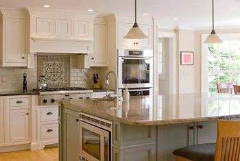 A kitchen island can take its color cue from other accents in the room.