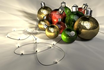 Wind battery-run light strings through Christmas ornaments for a shiny supper centerpiece.