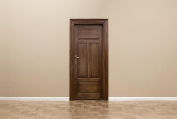 The wall and floor color both figure into your choice of stain for the door.