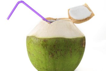 Coconut water is only found in the center of young coconuts.