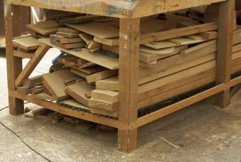 Shelves in the garage can provide a convenient way to organize and store lumber.