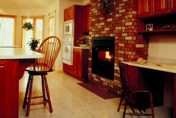 Brick veneer serves as an easy way to refinish an old fireplace.