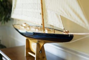 A model yacht is a strong, sculptural reference to all things nautical.
