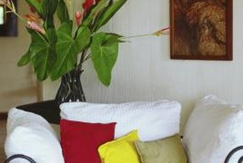 Colorful pillows can freshen the appearance of an old sofa.