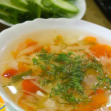 Soup can be a bland food that's easy on the stomach.