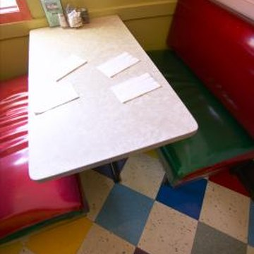 A painted Formica table can update and coordinate with your kitchen decor.