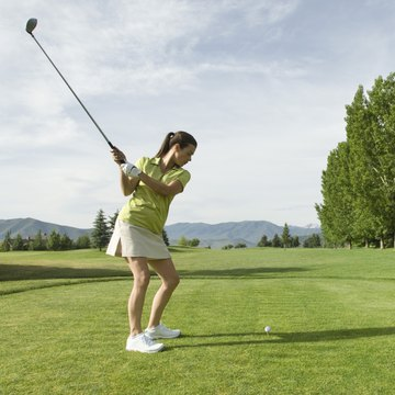 Skirts and short-sleeved shirts allow mobility when playing golf.