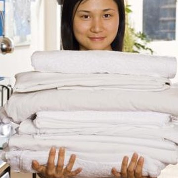 Bleach is used to sanitize towels and linens, but over time can be hard on fabrics.