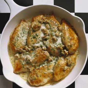 Browned chicken breasts are the basis for a variety of meals, like chicken breasts au gratin.