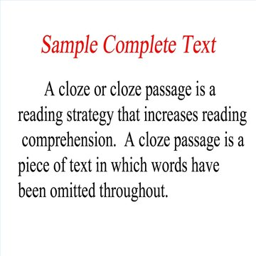 This is a sample of a complete text before becoming a cloze.