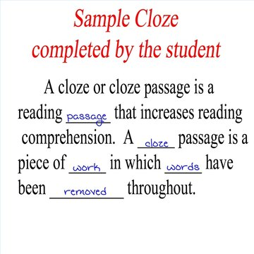 Here is a student's cloze before corrections.