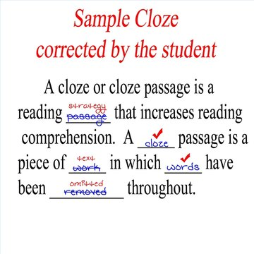 Here is a student cloze that has been corrected by the student.