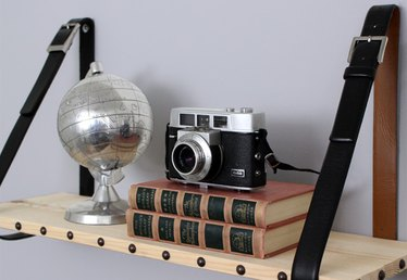 Leather and Wood Suspended Shelf