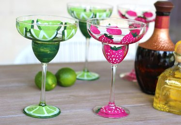 DIY Hand Painted Margarita Glasses