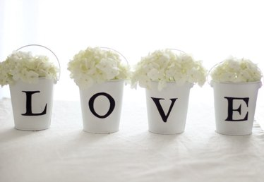 L-O-V-E Tin Pail Flower Arrangement