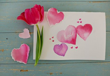 DIY Watercolor Hearts Valentine's Day Card