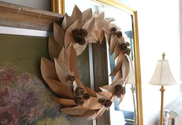 Make This Inviting Fall Wreath from Recycled Grocery Bags