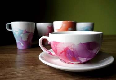 DIY Nail Polish Marbled Mugs