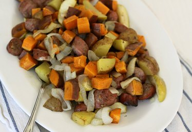 Sheet Pan Dinner: Chicken Sausage with Sweet Potatoes, Onions and Apples