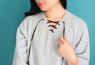 DIY Lace-Up Sweatshirt