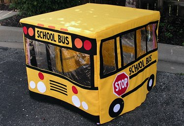 Create a Fun School Bus Playhouse for Kids Using a Card Table