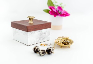 DIY Faux Wood and Marble Trinket Boxes