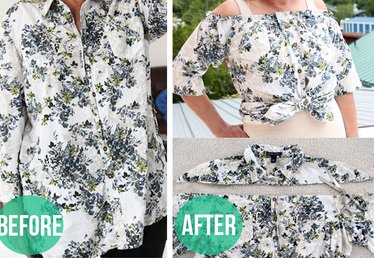 How to Make a Peasant Blouse Out of a Button-Down Shirt