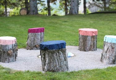 How to Create Colorful Seats From Tree Stumps