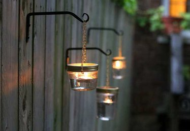 Outdoor Hanging Lights Using Mason Jars Tutorial