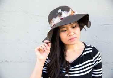 DIY Feather Trimmed Floppy Hat