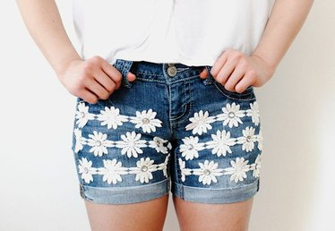 How to Embellish Denim Shorts With Gem and Flower Trim