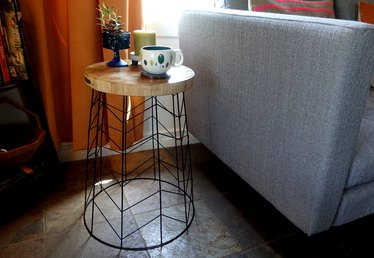Tutorial for Creating a Side Table Using a Wire Basket