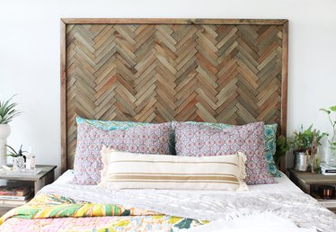 DIY Herringbone Headboard With Wood Shims