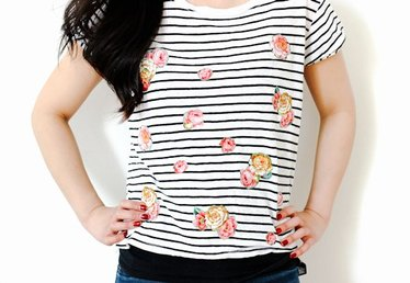 How to Make a Floral Appliqued Striped Shirt