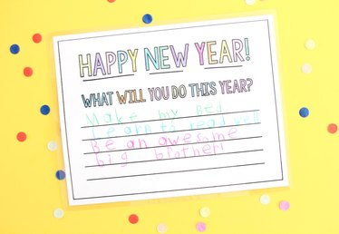 Printable New Year's Resolution Placemats for Kids