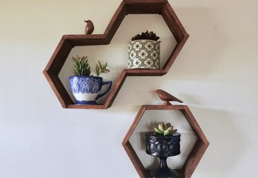 Hexagon Honeycomb Shelves Made With Popsicle Sticks Tutorial