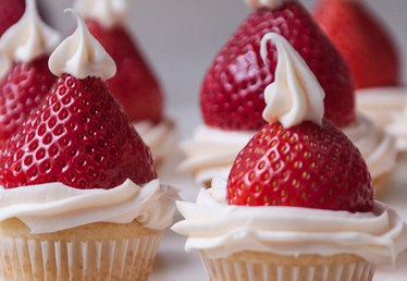 Santa Hat Strawberry Cupcakes Recipe