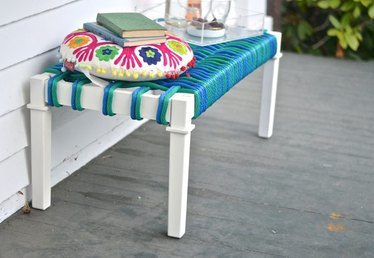 How to Make a Modern Woven Bench Seat from a Coffee Table