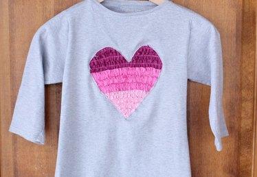 Upcycled Ruffled Heart Shirt