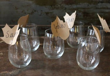 Dress Up Your Fall Table With These Floating Leaf Place Cards