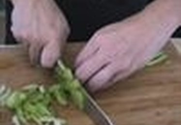 Slicing Celery for Turkey Stuffing Recipe