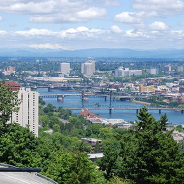 The Willamette River divides the city of Portland.