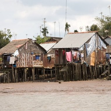 A riverside village along the Mekong.