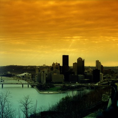 Pittsburgh skyline at sunset.
