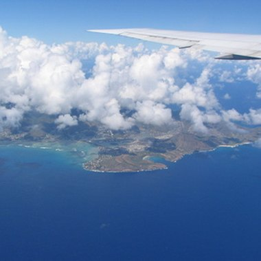Oahu as seen from your airplane window.